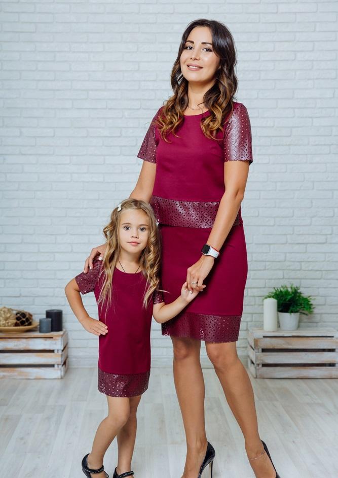 """Комплект в стиле Family Look костюм с юбкой для мамы и платье для дочки """"Милано"""" М-2139-2"""