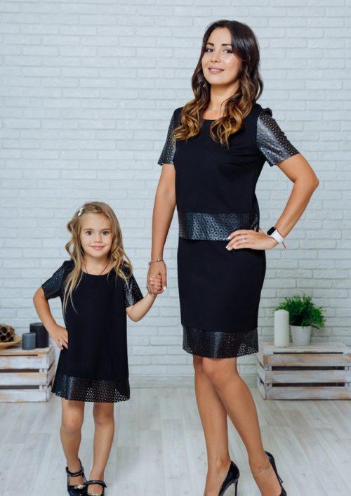 """Комплект в стиле Family Look костюм с юбкой для мамы и платье для дочки """"Милано"""" М-2139"""
