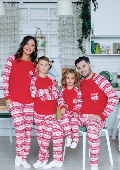 """Комплект новогодних пижам в стиле family look """"Сканди"""" М-2109"""
