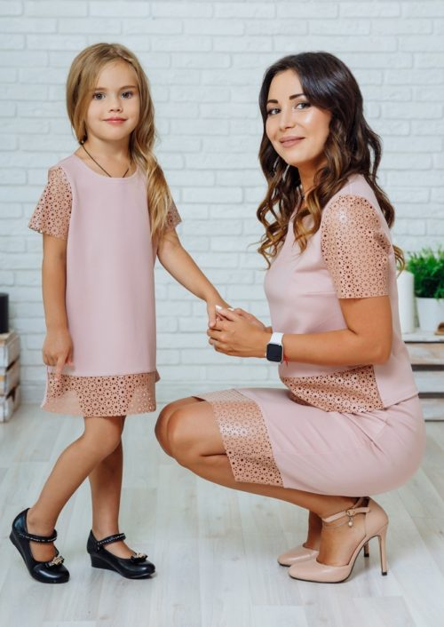 """Комплект в стиле Family Look костюм с юбкой для мамы и платье для дочки """"Милано"""" М-2139-3"""