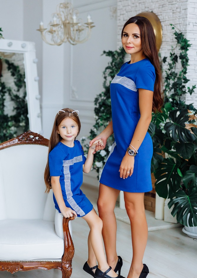 """Комплект нарядных платьев в стиле Family Look для мамы и дочки """"Муза"""" М-2150-3"""