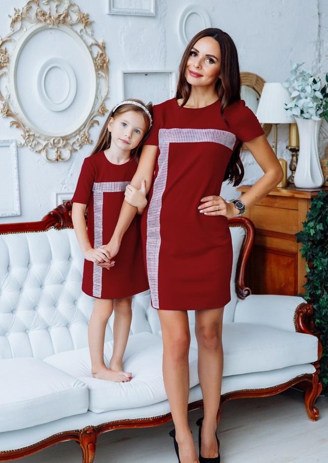 """Комплект нарядных платьев в стиле Family Look для мамы и дочки """"Муза"""" М-2150-2"""