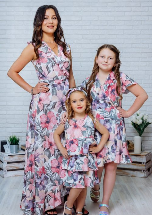 """Комплект летних платьев Family Look для мамы и дочки """"Экзотика"""" М-2082-2"""