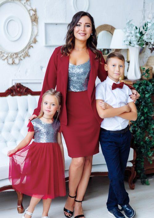 """Комплект в стиле Family Look костюм для мамы и платье для дочки """"Меган"""" М-2151"""