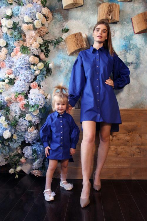 Комплект одинаковых платьев для мамы и дочки КМ 2200