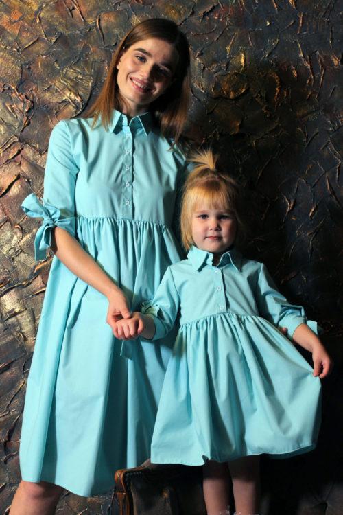 Комплект одинаковых платьев для мамы и дочки КМ 2196