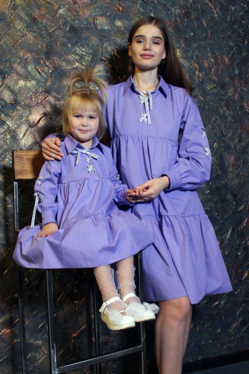 Комплект одинаковых платьев для мамы и дочки КМ 2194