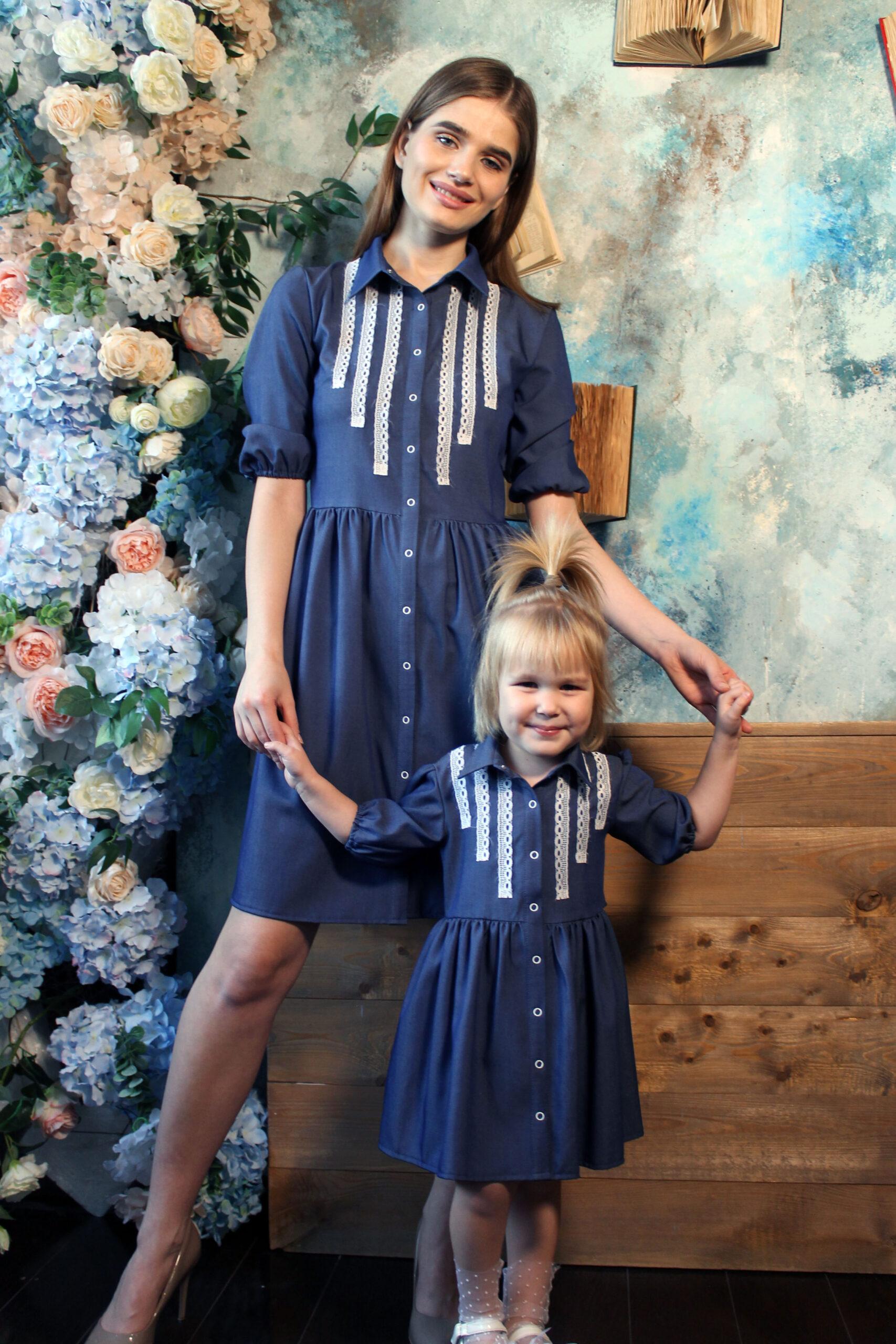 Комплект одинаковых платьев для мамы и дочки КМ 2195