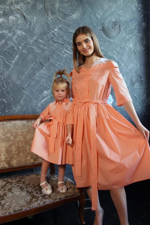 Комплект одинаковых платьев для мамы и дочки КМ 2198