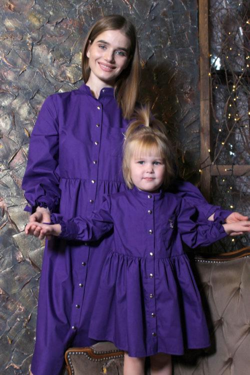 Комплект одинаковых платьев для мамы и дочки КМ 2197