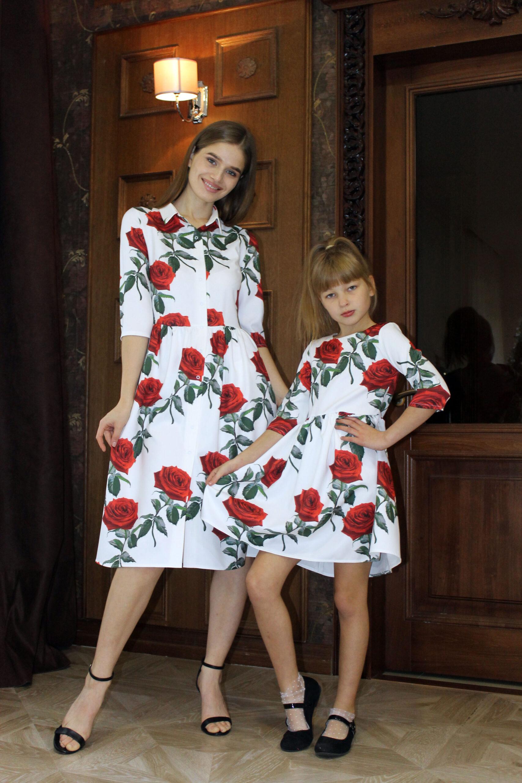Комплект одинаковых платьев для мамы и дочки КМ 2191