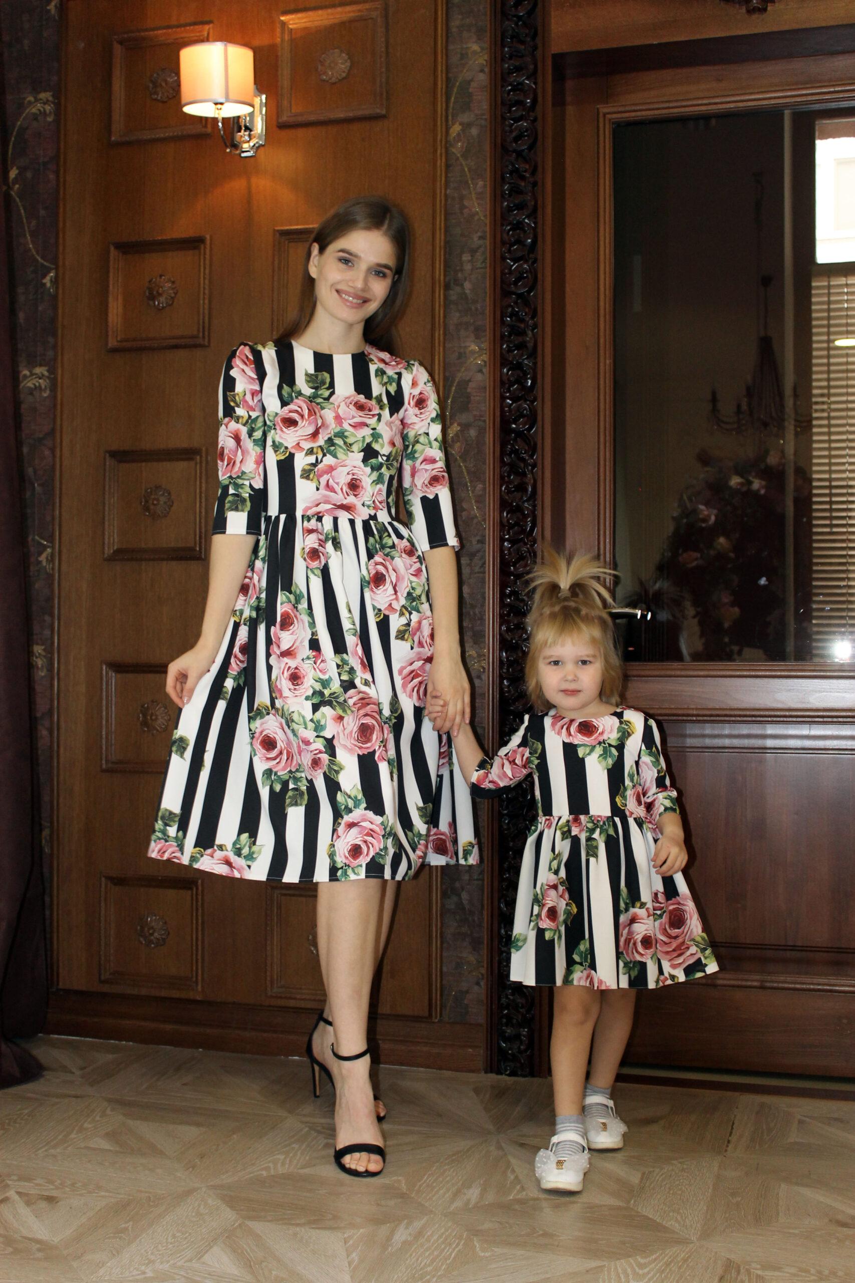 Комплект одинаковых платьев для мамы и дочки КМ 2193
