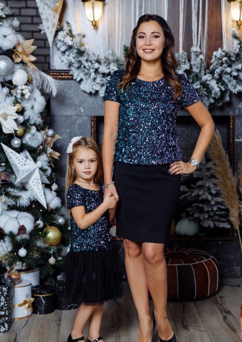 """Комплект топов в стиле Family Look для мамы и дочки """"Каролина"""" М-2145"""