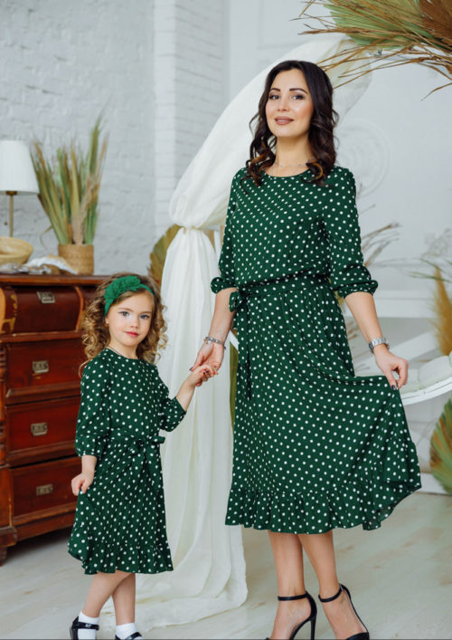 """Комплект платьев из штапеля для мамы и дочки """"Мари"""" М-2158"""