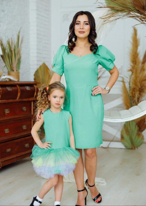 """Комплект платьев в стиле Family Look """"Лайм"""" М-2161"""