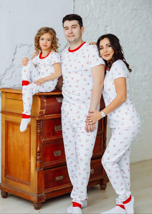 "Комплект пижам в стиле family look ""Love"" М-2169"