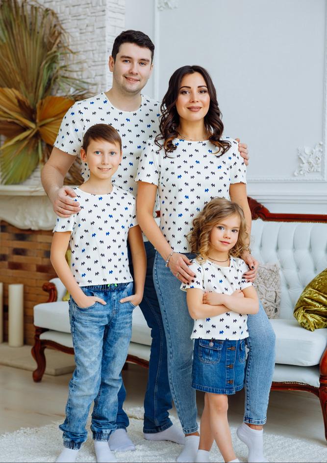 """Комплект футболок для всей семьи """"Собачки"""" М-2166"""